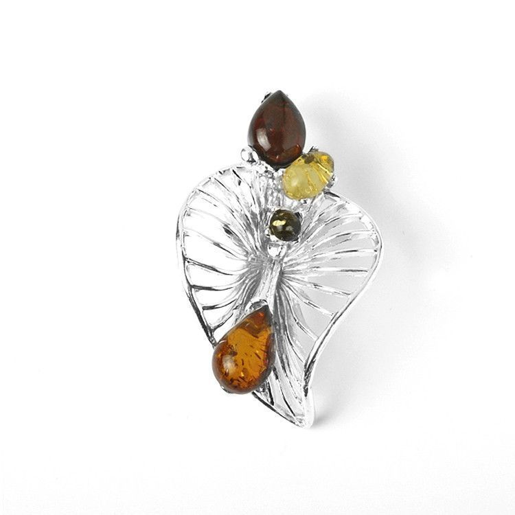 Amber Pendants Silver And Amber Leaf Pendant The