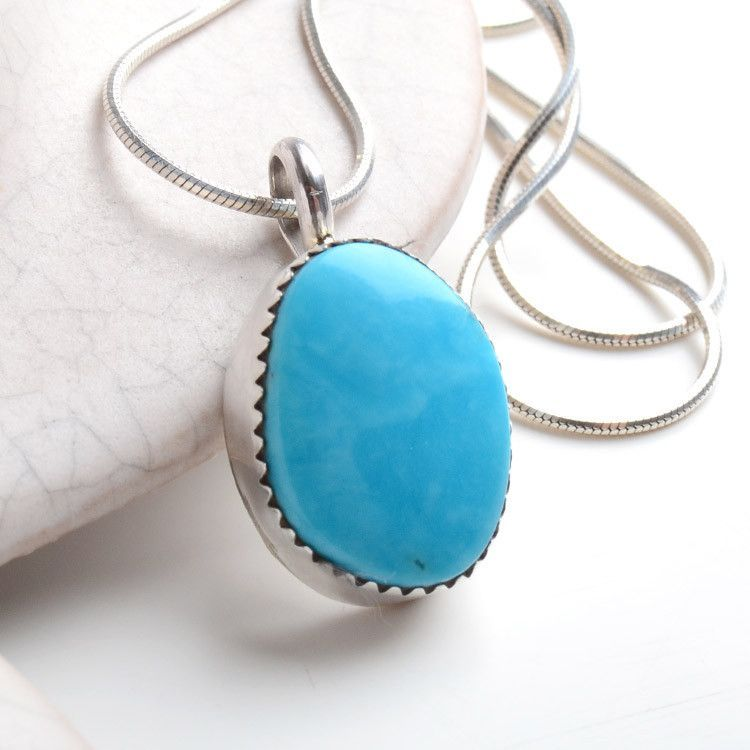 Turquoise Pendants Little Turquoise Stone In Silver