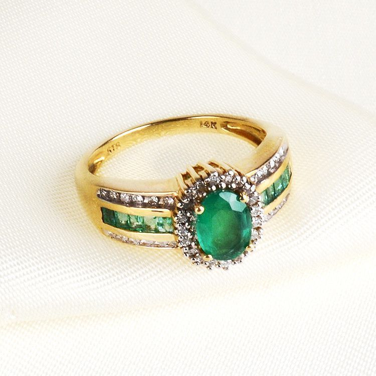 Emerald & Diamond Gold Ring 14K Gold