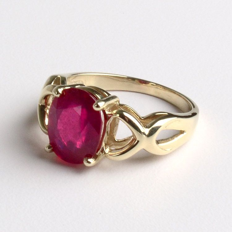 5183a68644ee09 Ruby Rings: 3 Carat Ruby Ring in 14K Gold - The Russian Store