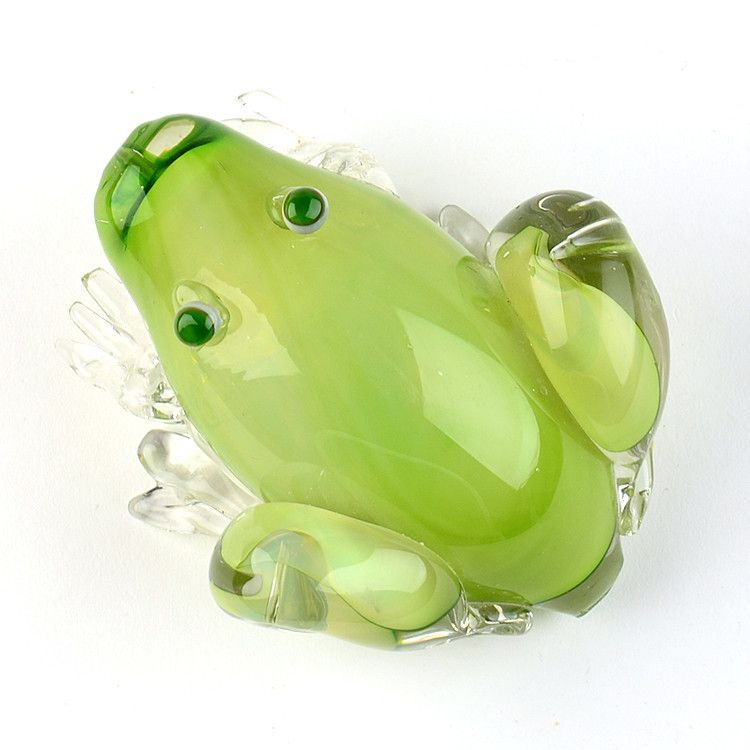 Hand Blown Glass Green Large Frog