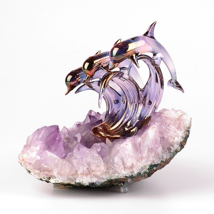 Dolphins On Amethyst Geode
