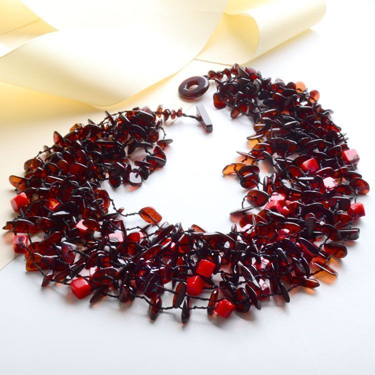 Cherry Amber & Red Coral Necklace