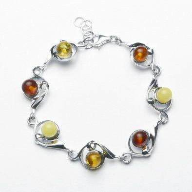 Tri-Colored Amber Bracelet from Russia