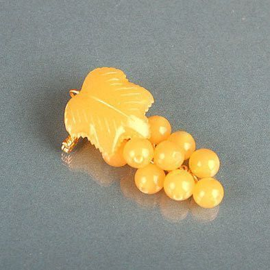 Cluster of Amber Grapes Brooch
