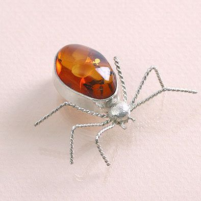 Amber Ant in Silver Pin