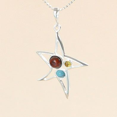 Amber and Turquoise Star Pendant