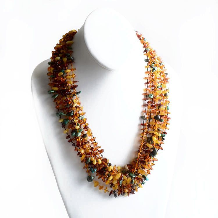10 Multicolored Strings Amber and Turquoise Necklace