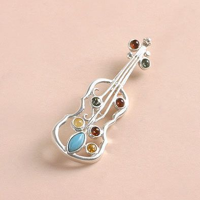 Turquoise and Amber Cello Pin