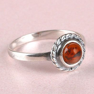 Simple Amber Silver Ring