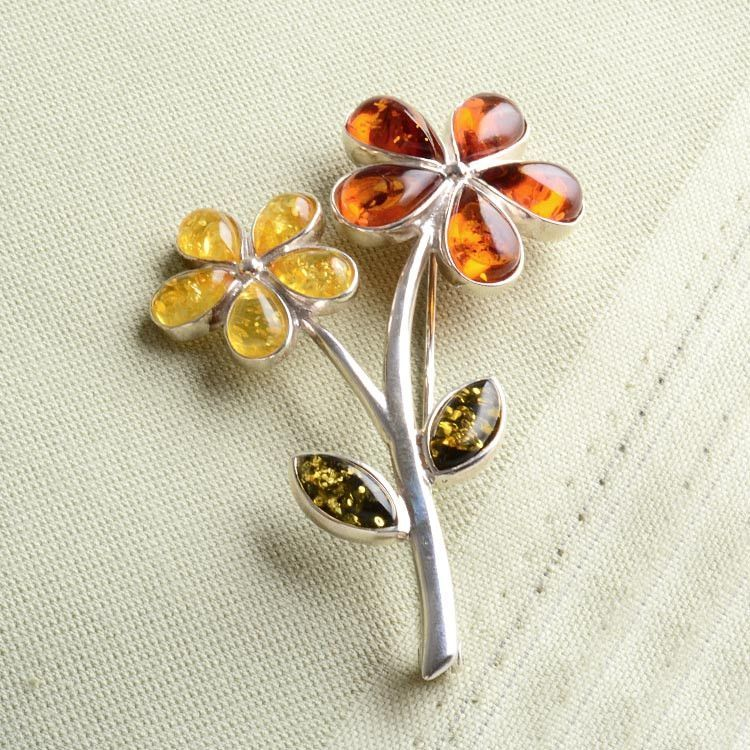 Amber Flowers Pin