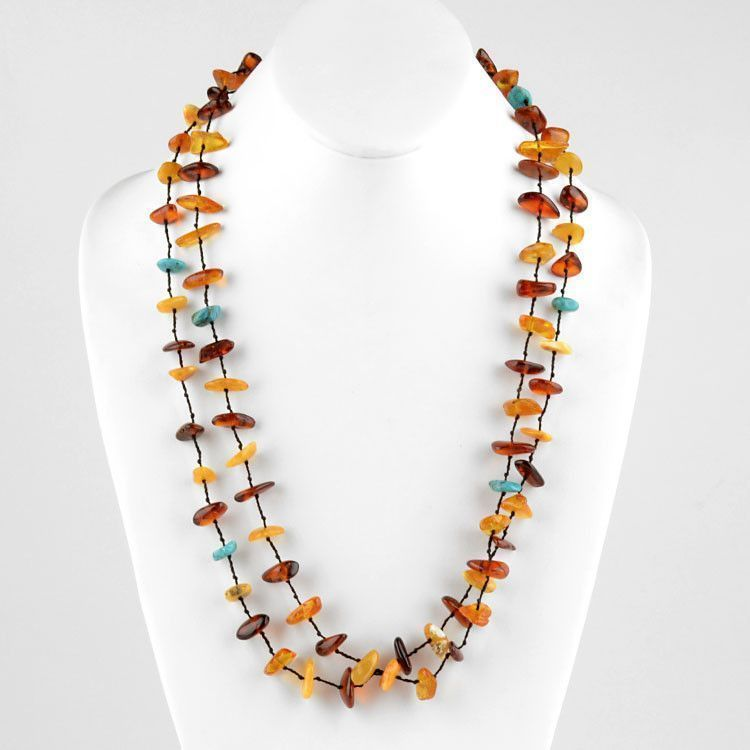 "50"" Long Turquoise and Amber Necklace"