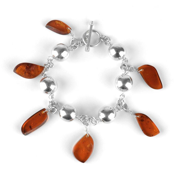 Unique Natural Amber Charm Bracelet