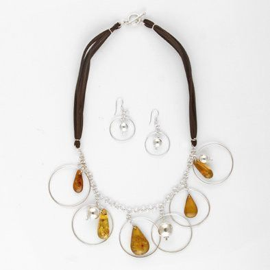 Honey Amber & Silver Jewelry Set