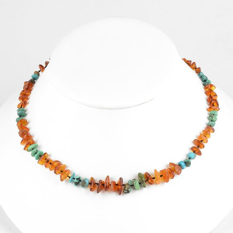 Natural Amber and Turquoise Necklace