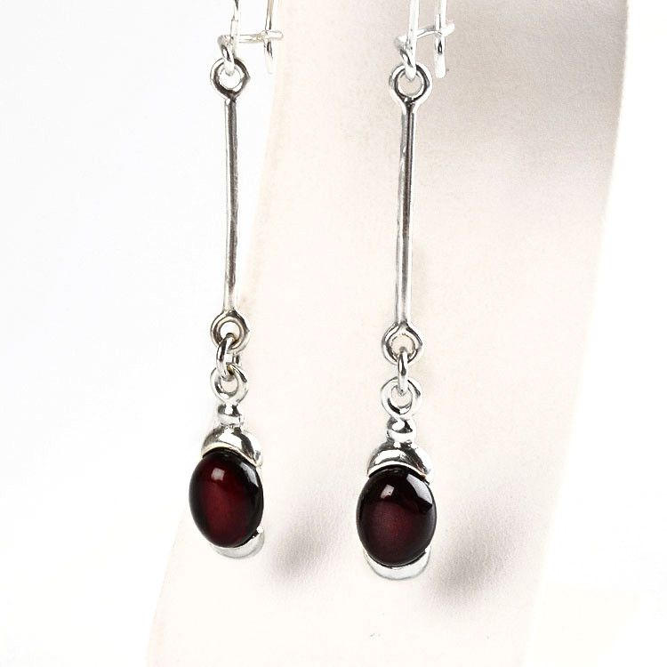 Dark Cherry Amber Earrings