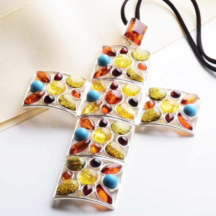 Elaborate Amber And Turquoise Cross Necklace