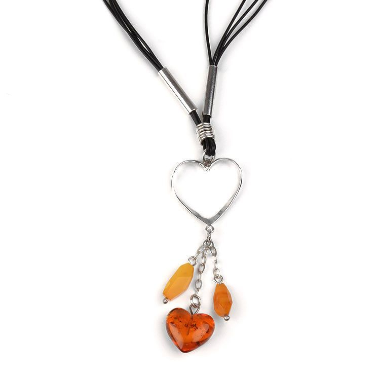 Amber Heart Charm Necklace
