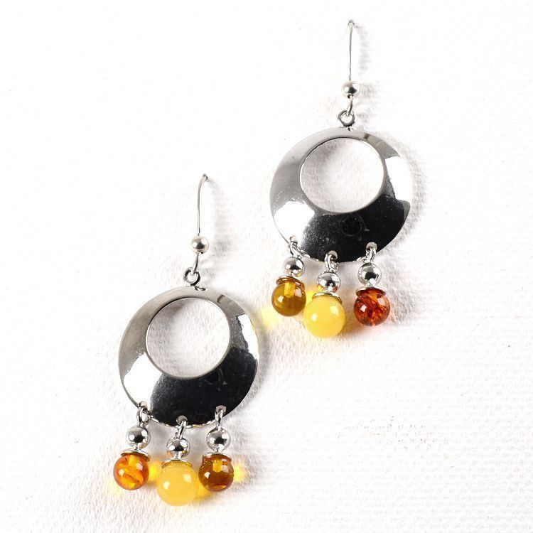 Amber & Silver Circle Earrings