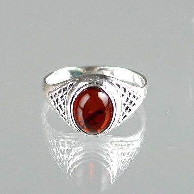 Amber & Silver Lace Ring