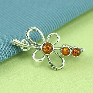 Floral Amber in Silver Pin