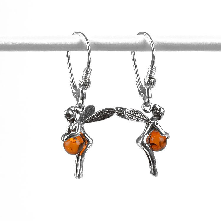 Amber Silver Little Fairy Earrings