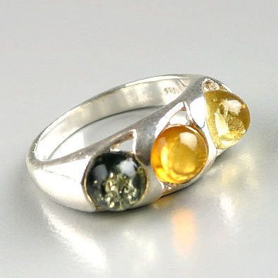 Three Amber Stones Ring