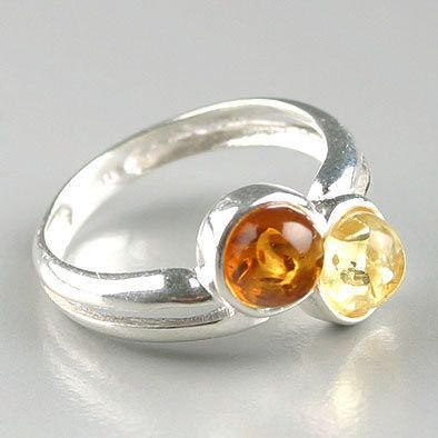 Two-Stone Amber Ring