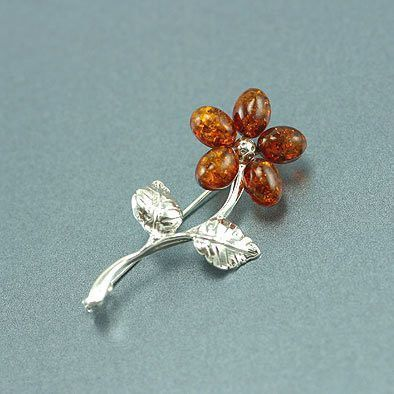 Amber Silver Flower Pin