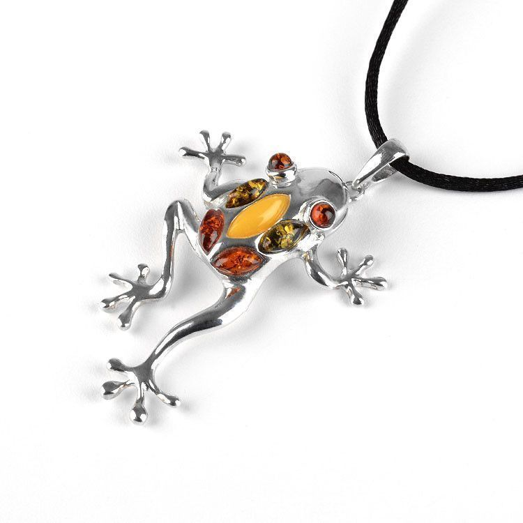 Amber Large Frog Necklace