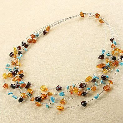 Amber & Turquoise Drops Necklace