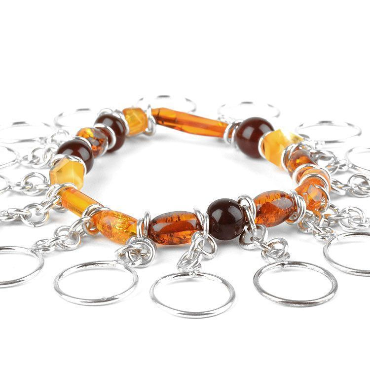 Modern Multi-Colored Amber & Silver Bracelet