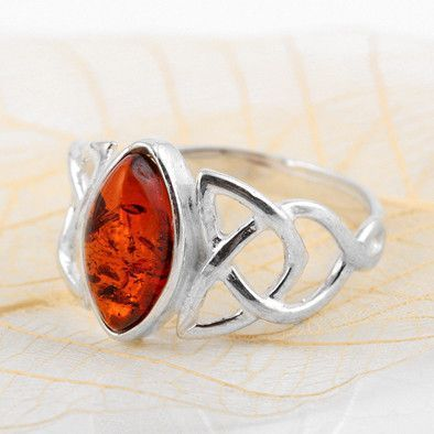 Silver Celtic Knot Amber Ring