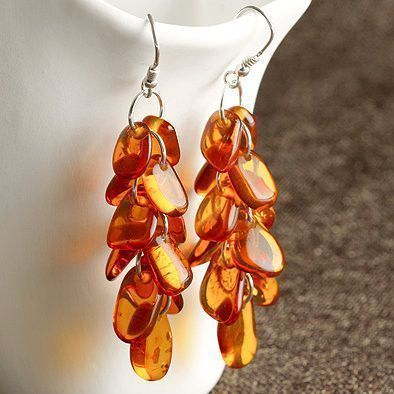 Honey Amber Cascade Earrings