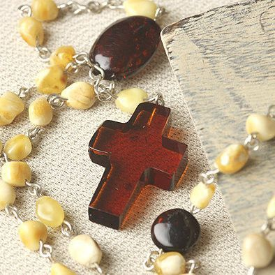 Honey and Butterscotch Rosary Necklace