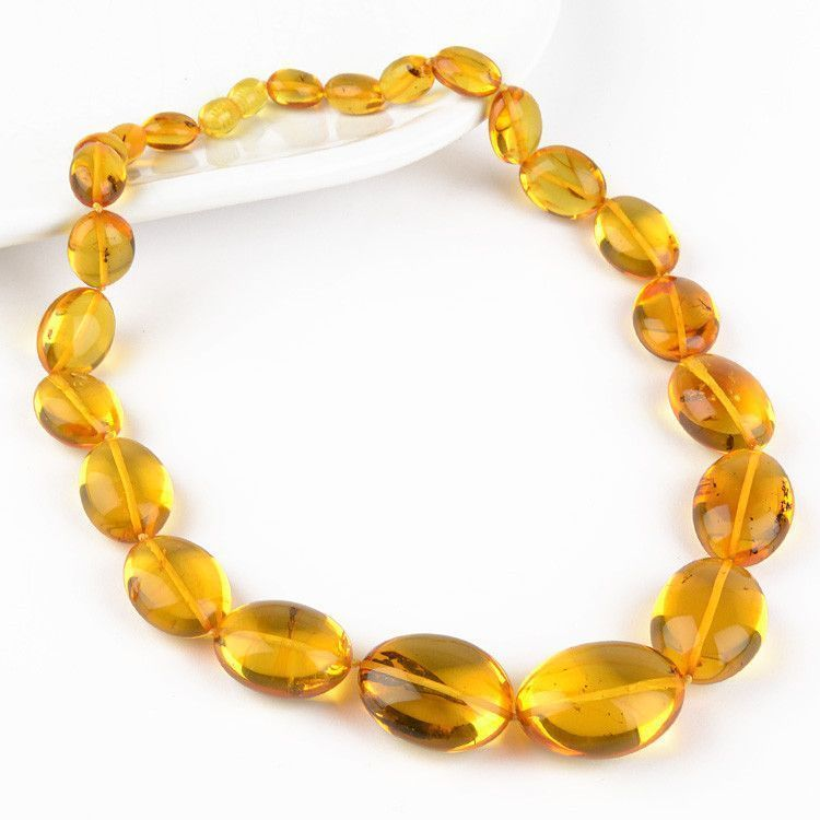 Honey Amber Necklace with Many Insect Inclusions