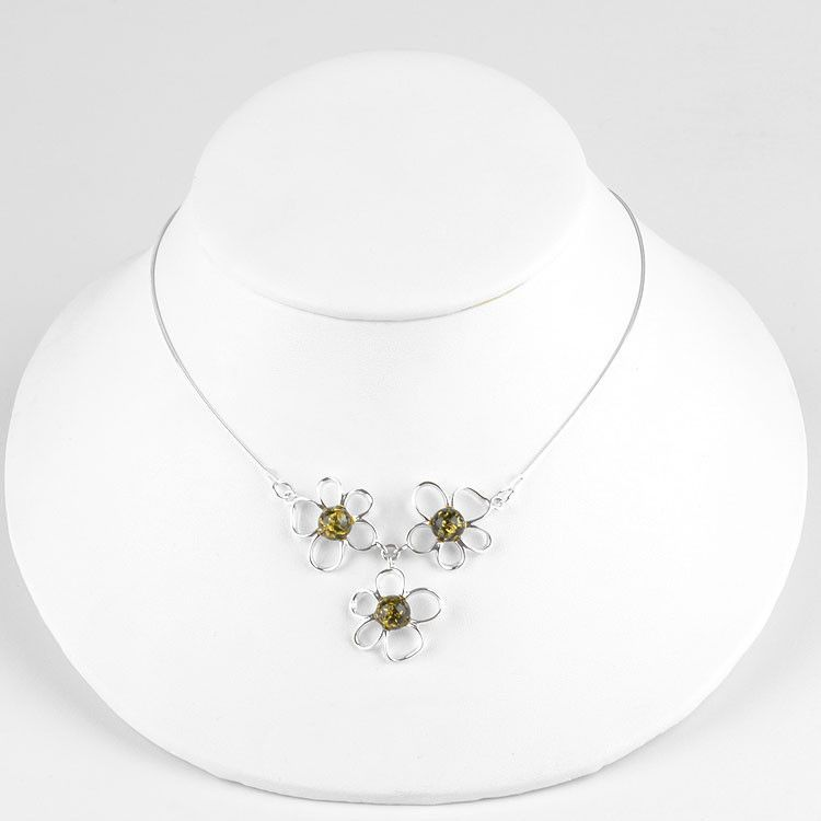 Green Amber Flower Necklace