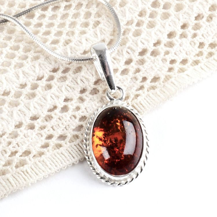 Small Oval Amber Pendant