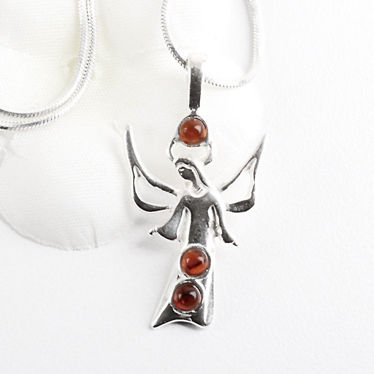 Angel Pendant - Amber & Silver