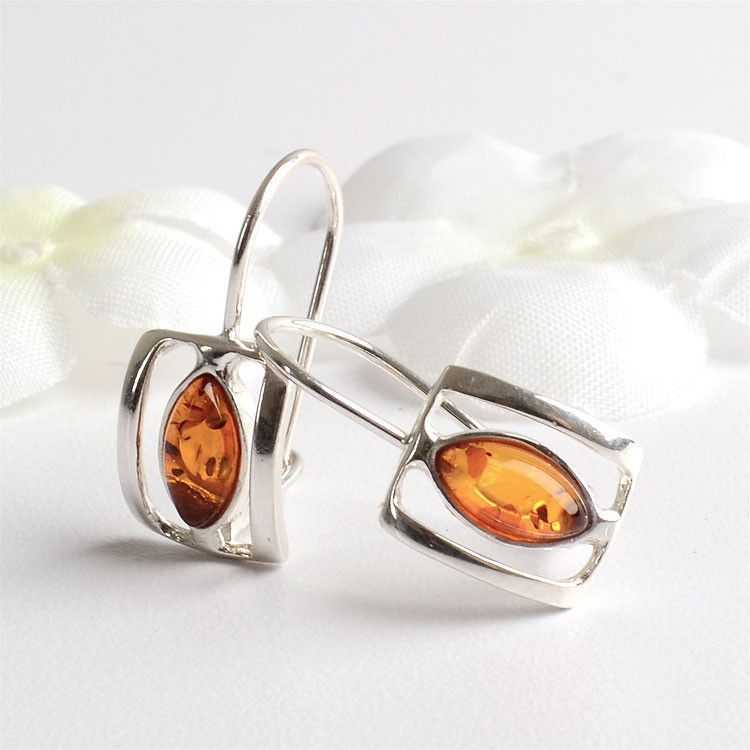 Geometric Amber/Silver Earrings