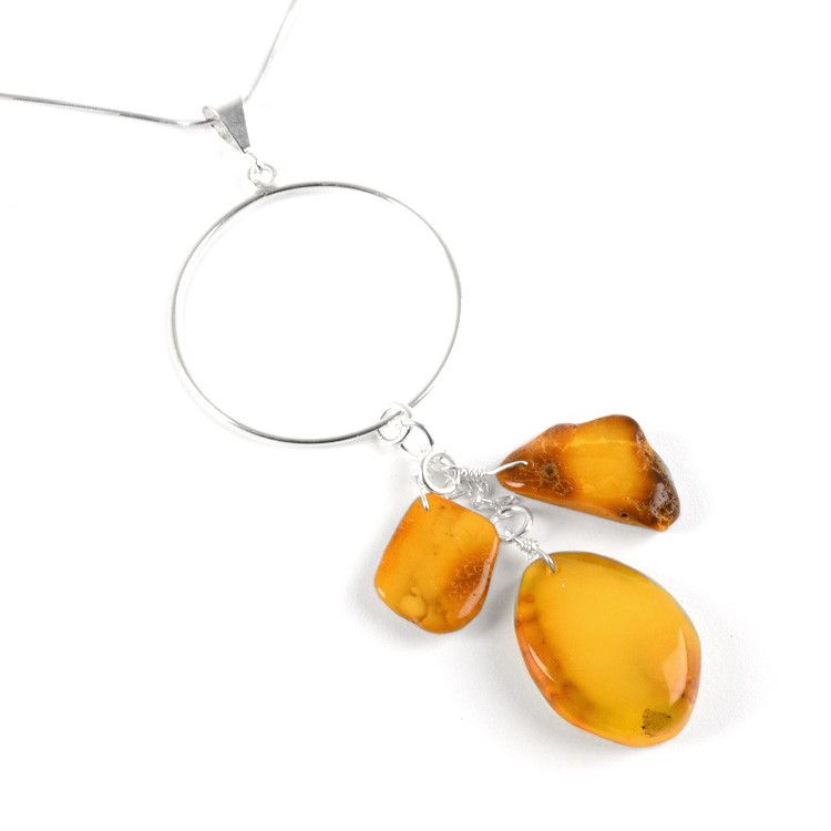 Natural Amber Chunks Modern Pendant