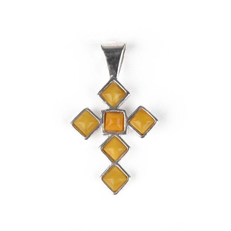 Butterscotch Yellow Amber Cross Pendant