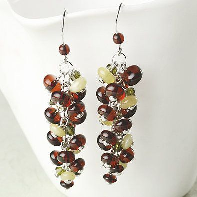 Honey and Lemon Amber Cascade Earrings