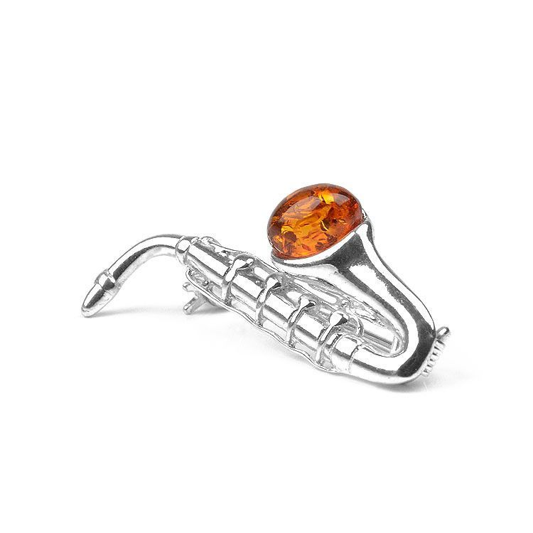 Honey Amber Saxophone Pin
