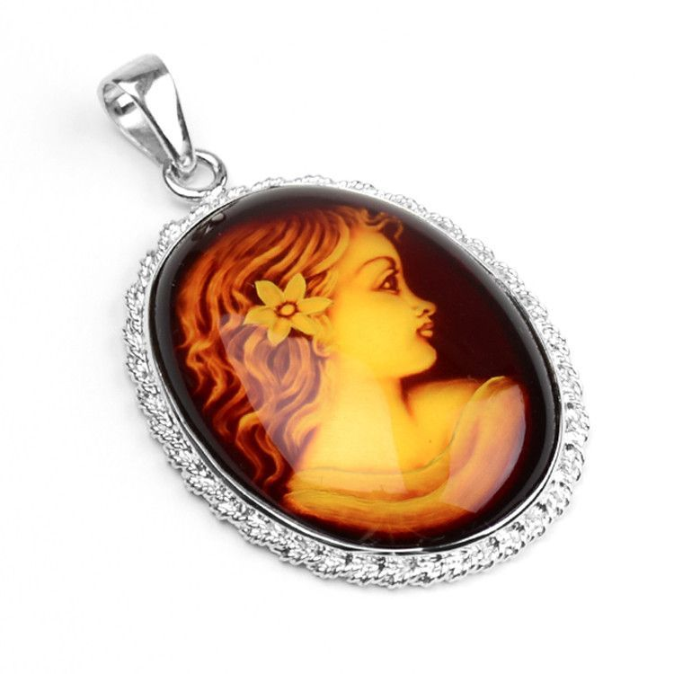 Large Amber Cameo Pendant