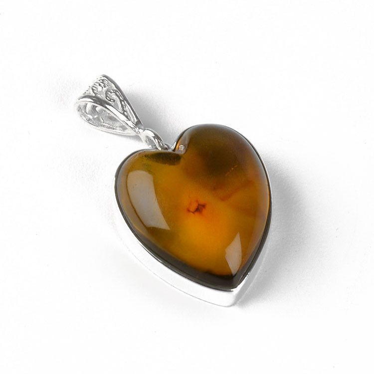 Heart Shape Honey Amber Pendant