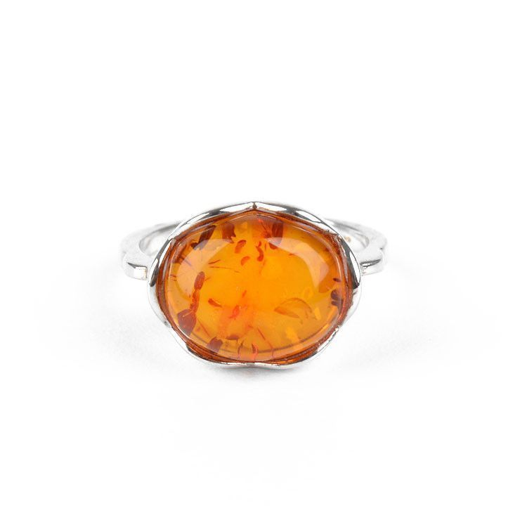Cute Honey Amber & Sterling Silver Ring