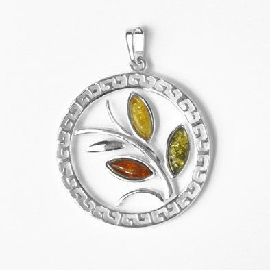 Muti-Colored Amber Tree of Life Pendant