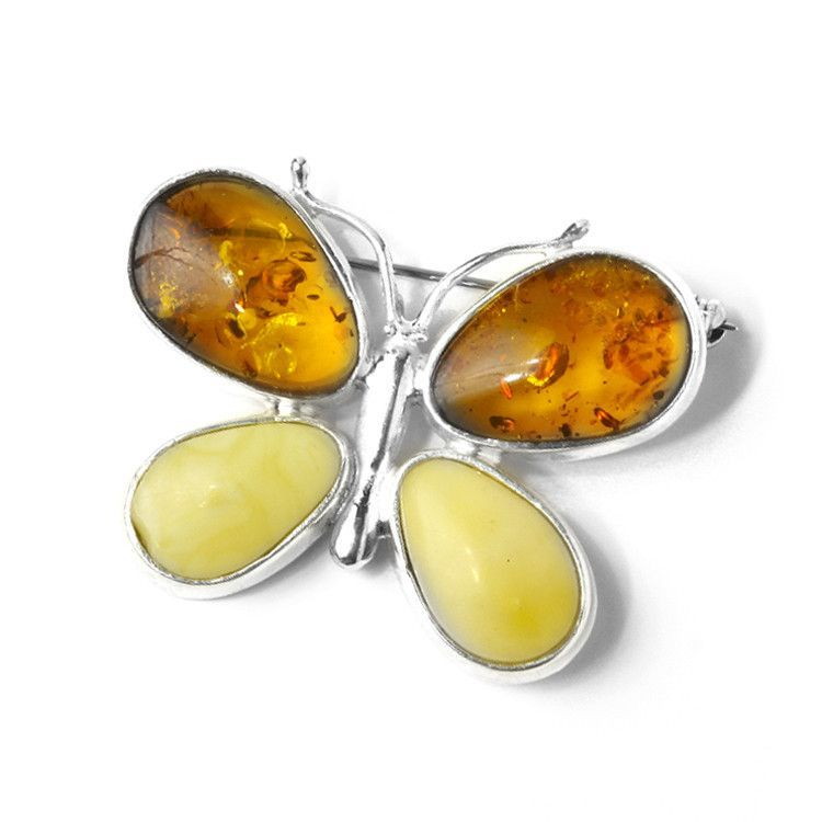 Multicolor Amber Butterfly Pendant/Pin