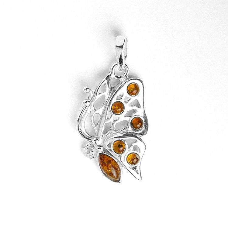 Amber and Silver Butterfly Pendant